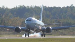 A Boeing 737 jet landed at the Peterborough Airport on Wednesday (Sept. 24) night.  Lance Anderson/This Week